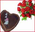 10 Red Roses Bouquet &1 lb. Choco Cake